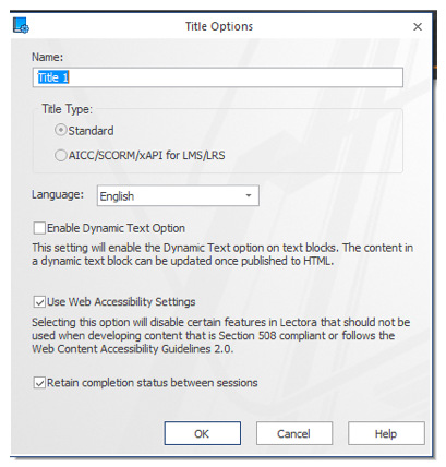 Title Options showing the Use Web Accessibility Settings checkbox checked ON