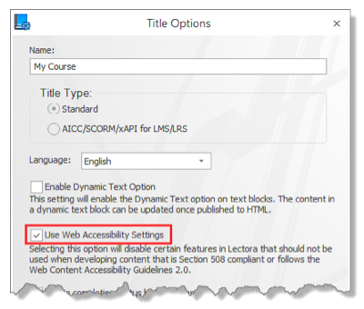 Select Title Options on the Design Ribbon to enable Web Accessibility Settings