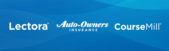 Lectora, CourseMill, and Auto-Owners Insurance logos